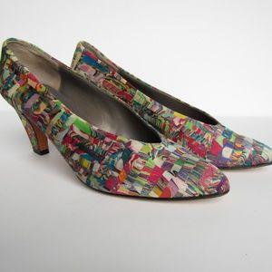 Vintage SESTO MEUCCI Marbled Silk Heels